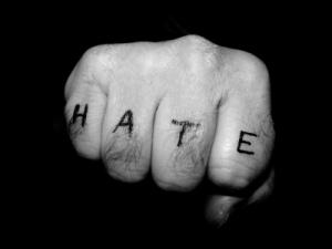 hate tattoo on knuckles