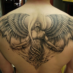 awesome angel back piece tattoo